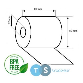 Bobine Papier Thermique SANS BISPHÉNOL 80 x 80 x 12 mm
